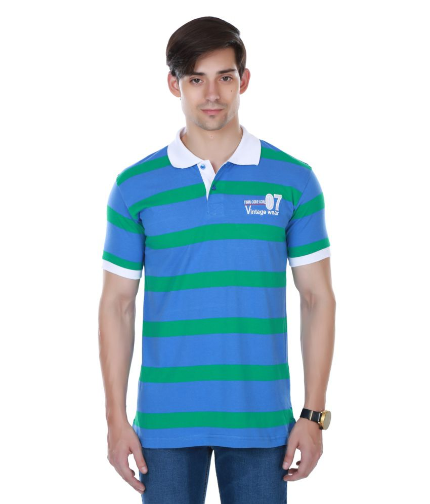 Cotton County Premium Blue and Green Polyester Polo T-Shirt
