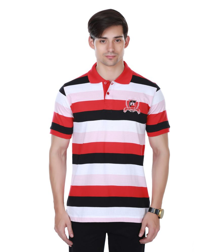 Cotton County Premium Red and White Polyester Polo T-Shirt