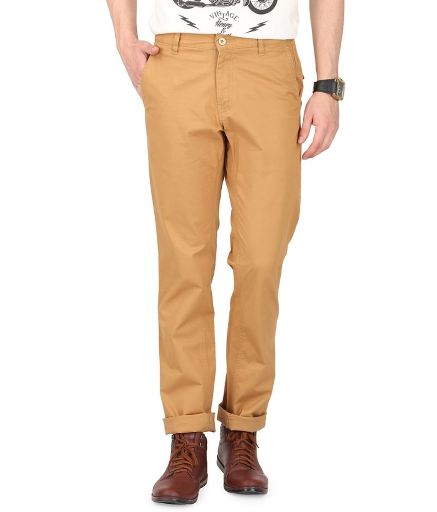 French Republic Khaki Blended Cotton Trousers