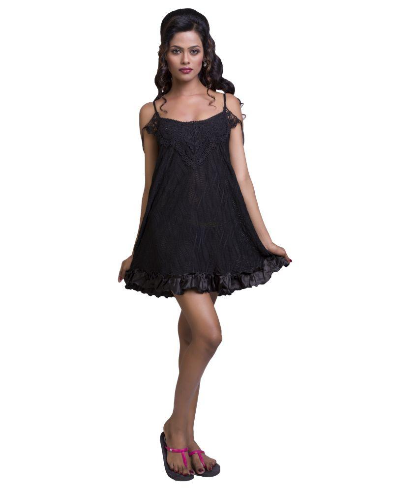 Ishin Black Net Baby Doll Dresses