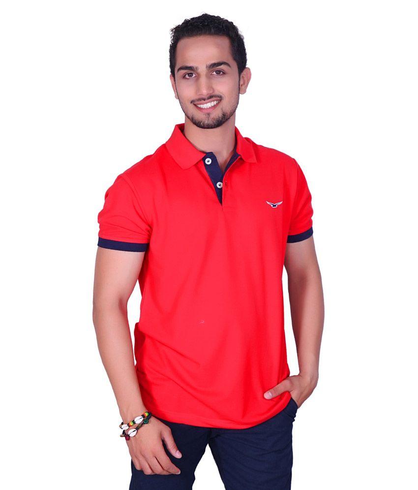 Amstead Red Half Basics Polo T-shirt