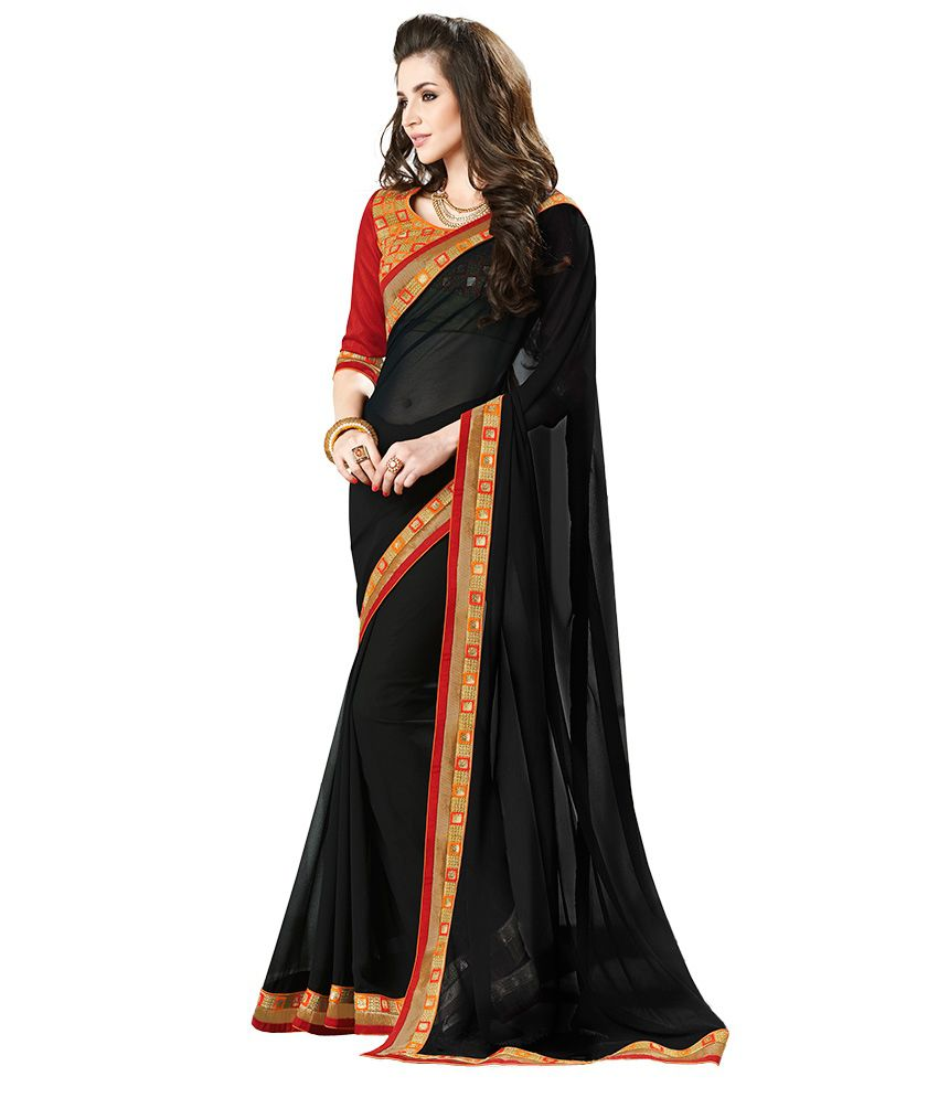 Zemi Black Faux Chiffon Saree
