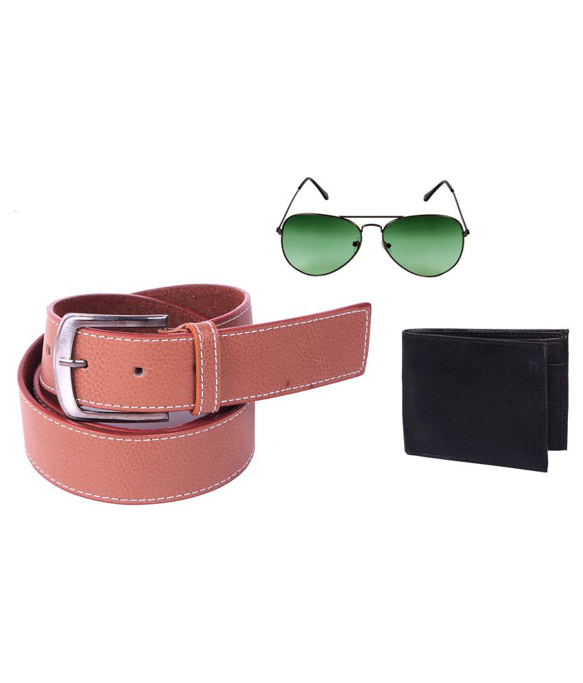 Calibro Tan Belt with Stylish Aviator Sunglasses and Wallet