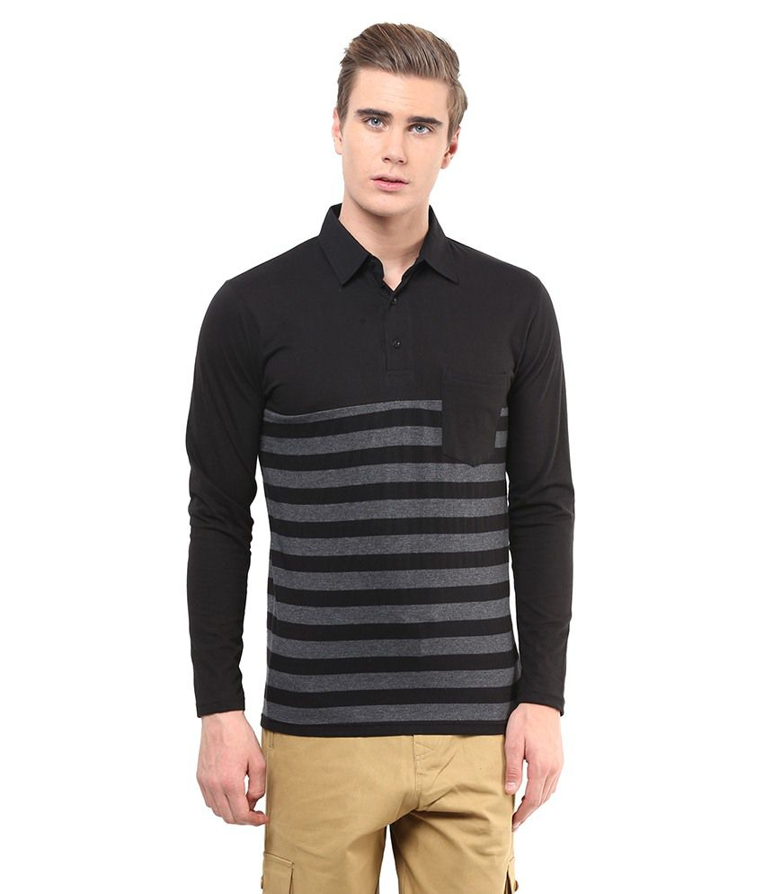 Hypernation Black & Gray Cotton Polo T-Shirt