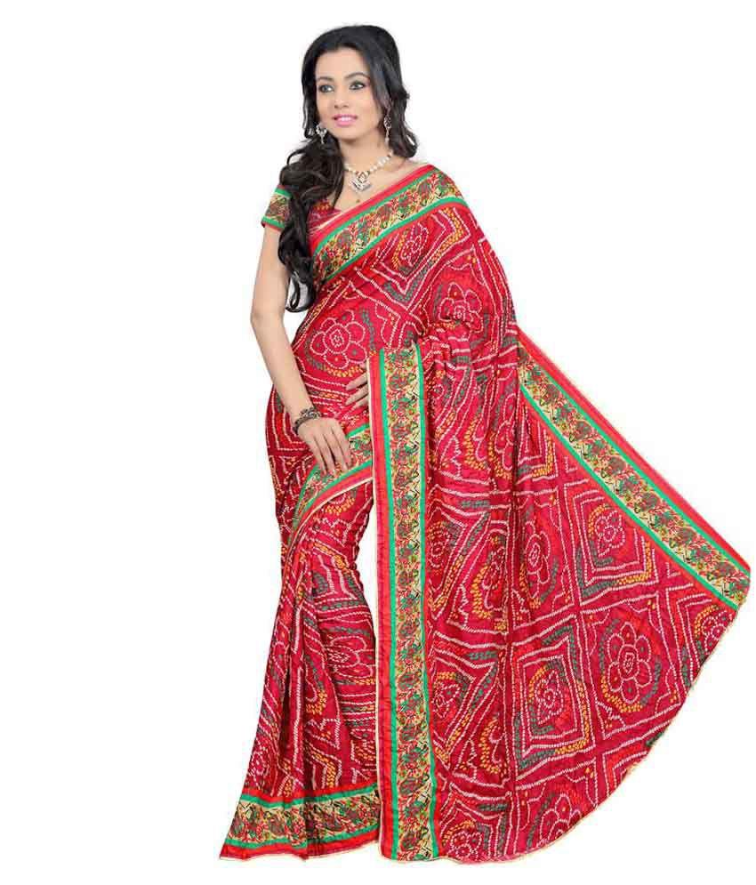 Leena Dandiya Bandhej Red Art Crepe Saree  available at snapdeal for Rs.346