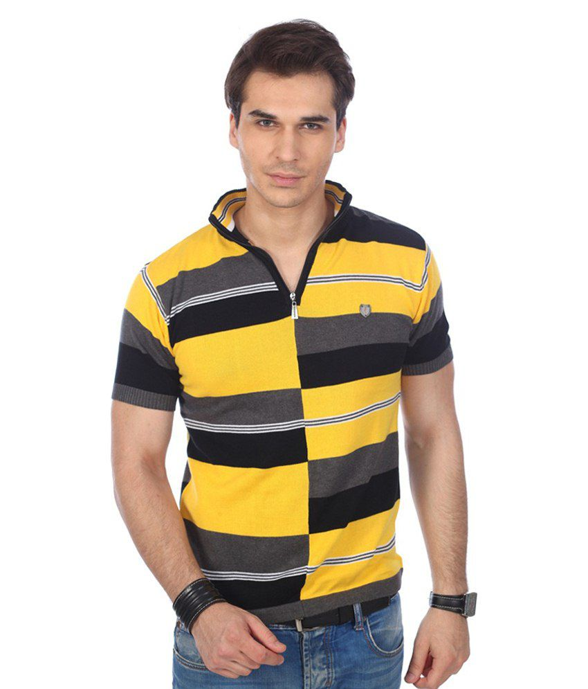 Pramukhautomation Multicolour Half Sleeves Striper Polo T-shirt