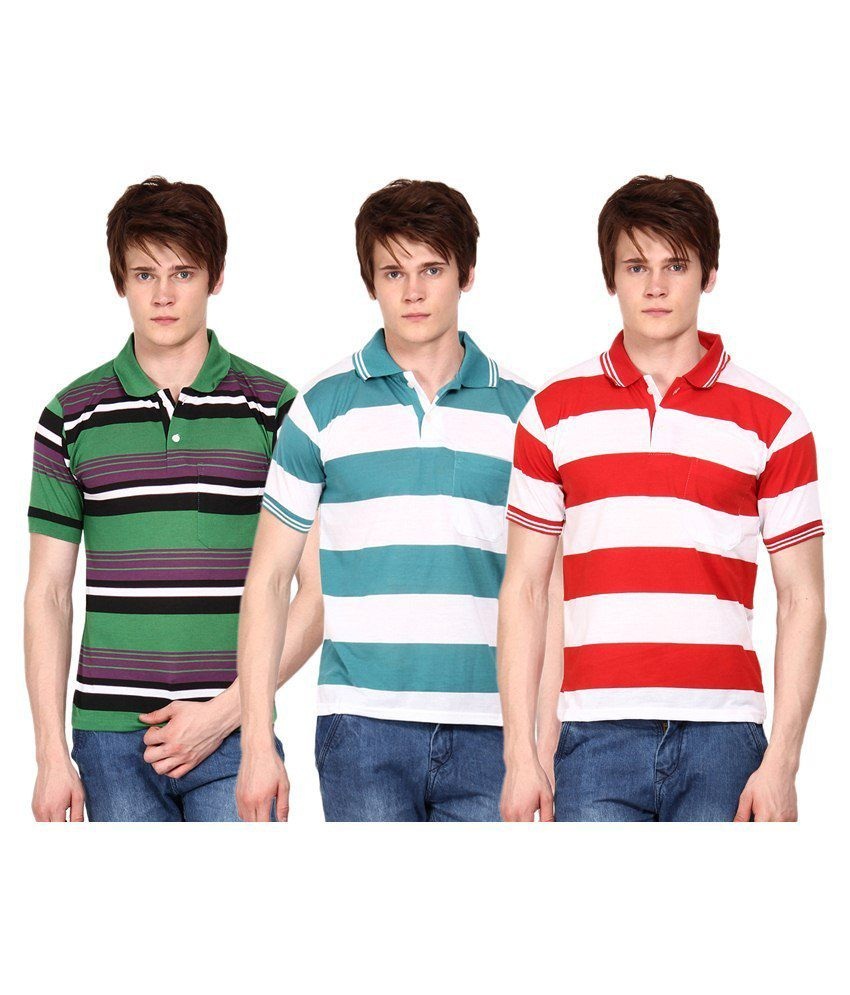 Wajbee Multicolour Cotton Blend Polo T-Shirt Combo Of 3