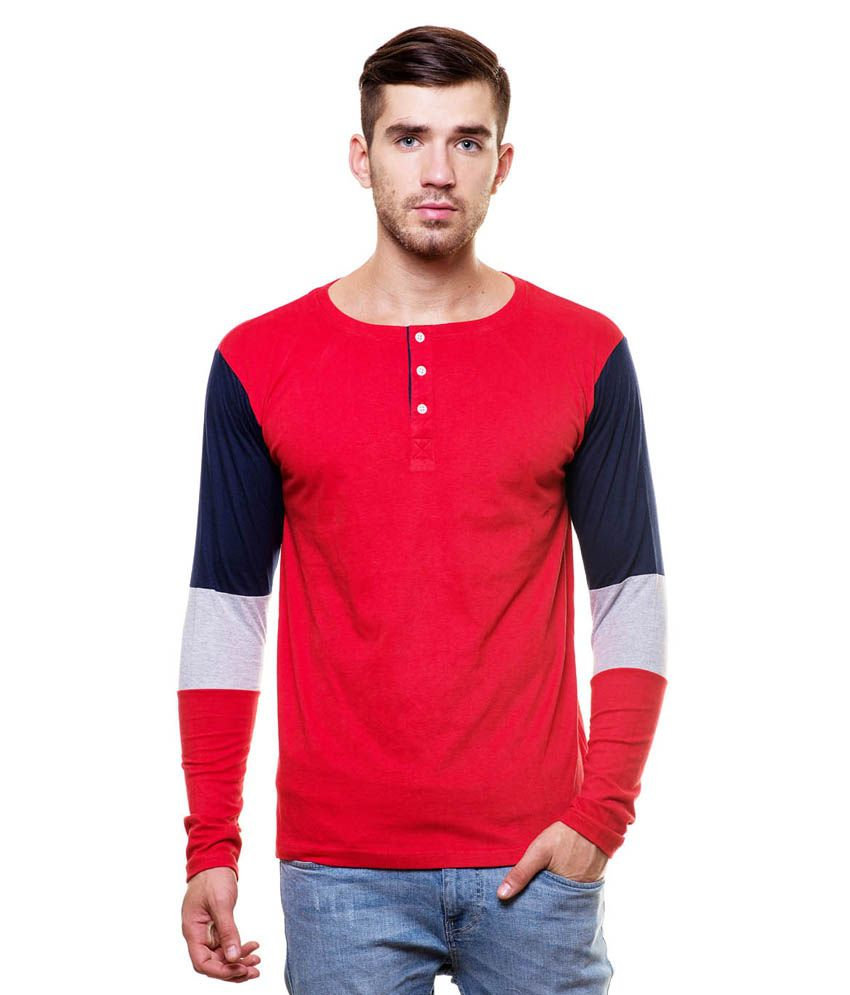 Enquotism Red Cotton Henley T-Shirt