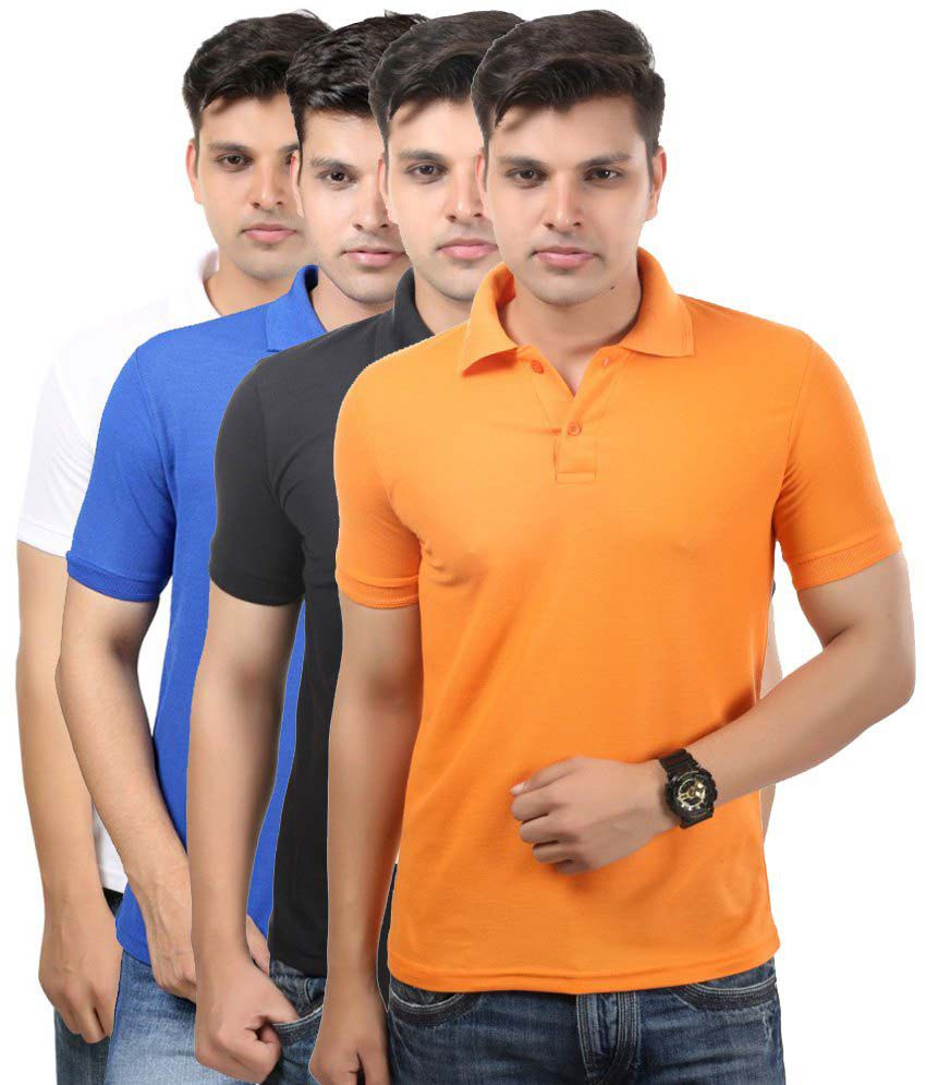 Etoffe Multicolour Cotton Blend Polo T Shirts Pack Of 4