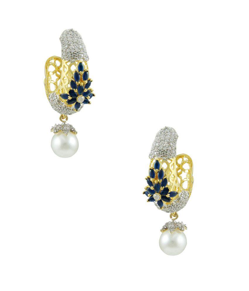 Orniza Blue Bridal Hanging Earrings