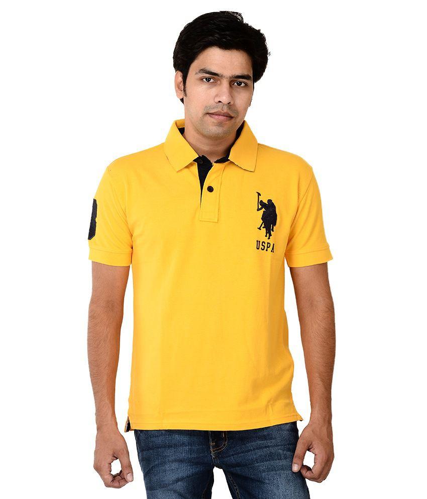 U. S. Polo Assn. Yellow Half Sleeves Basics Polo T-shirt
