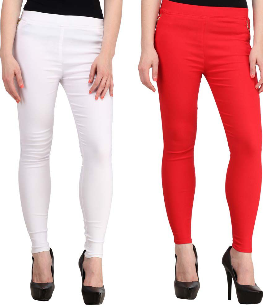 Fashion Arcade Pack of 2 White & Red Solid Cotton Lycra Jeggings
