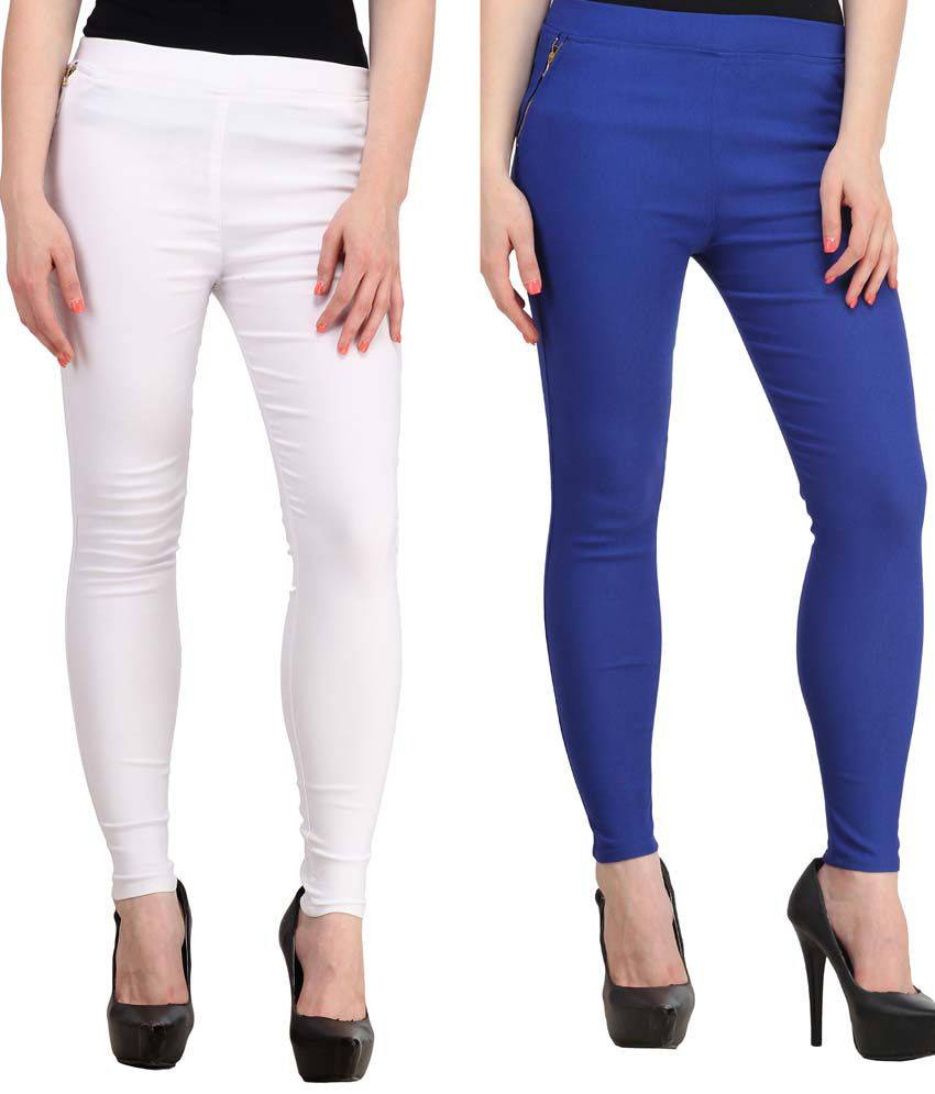 Fashion Arcade Pack of 2 White & Royal Blue Solid Cotton Lycra Jeggings
