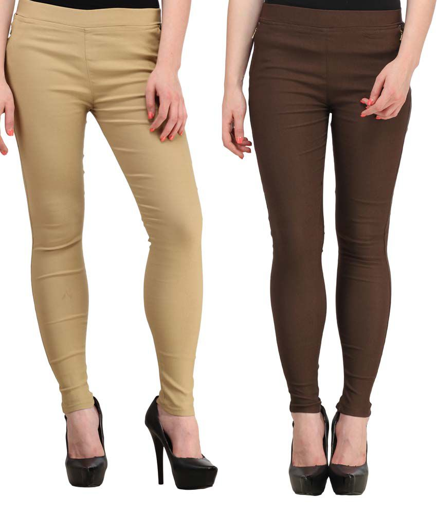 Fashion Arcade Pack of 2 Beige & Brown Solid Cotton Lycra Jeggings