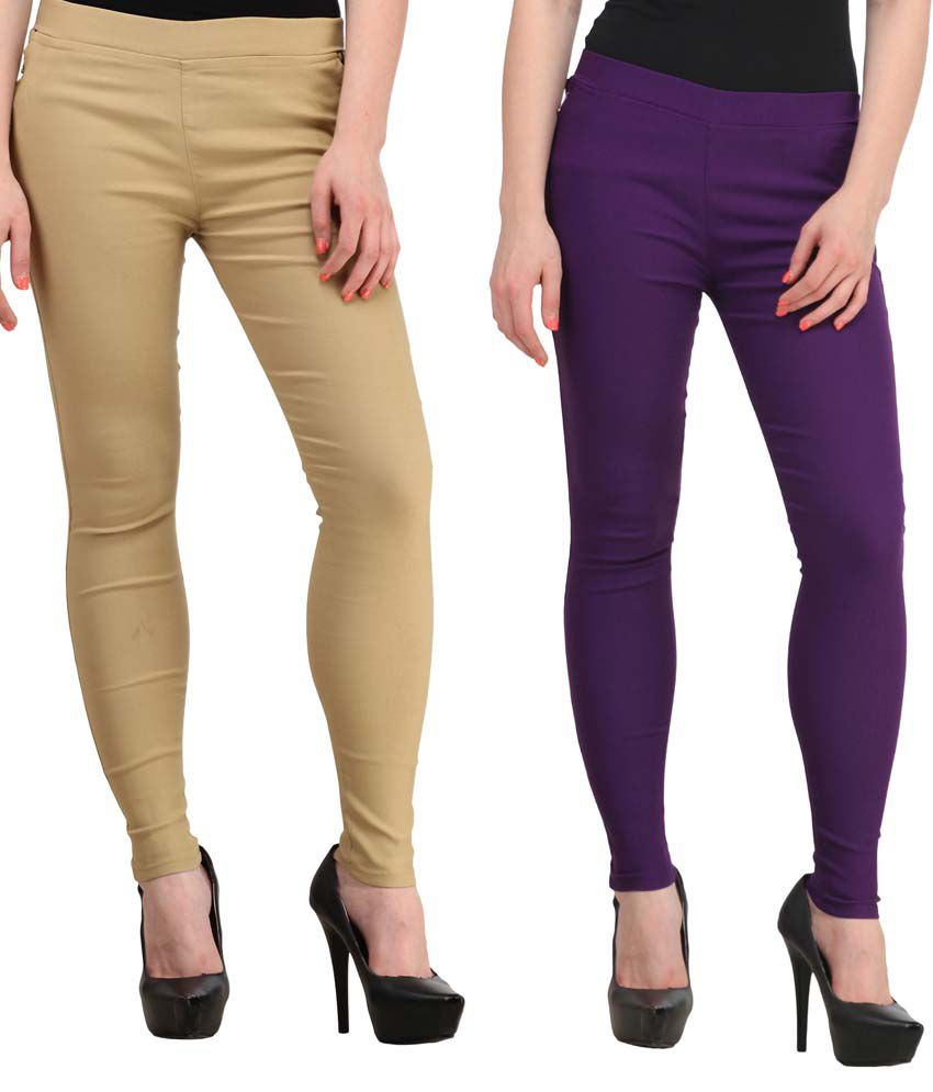 Fashion Arcade Pack of 2 Beige & Purple Solid Cotton Lycra Jeggings
