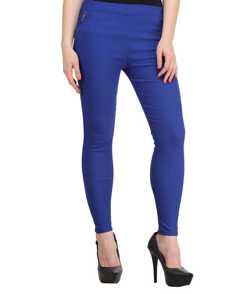 Fashion Arcade Royal Blue Solid Cotton Lycra Jeggings