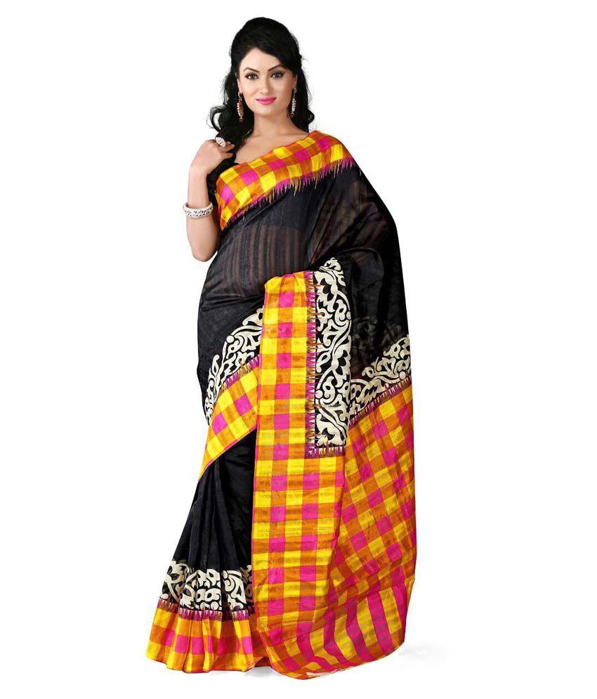 e025adb2385 Bansuri Creation Black Bhagalpuri Silk Saree - Buy Bansuri Creation Black  Bhagalpuri Silk Saree Online at Low Price - Snapdeal.com