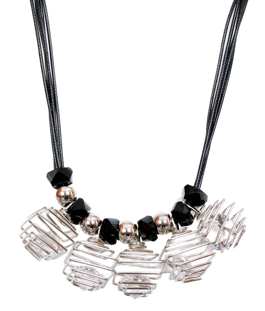 Dadu Diamonds Silver Alloy Coloured Bead Necklace