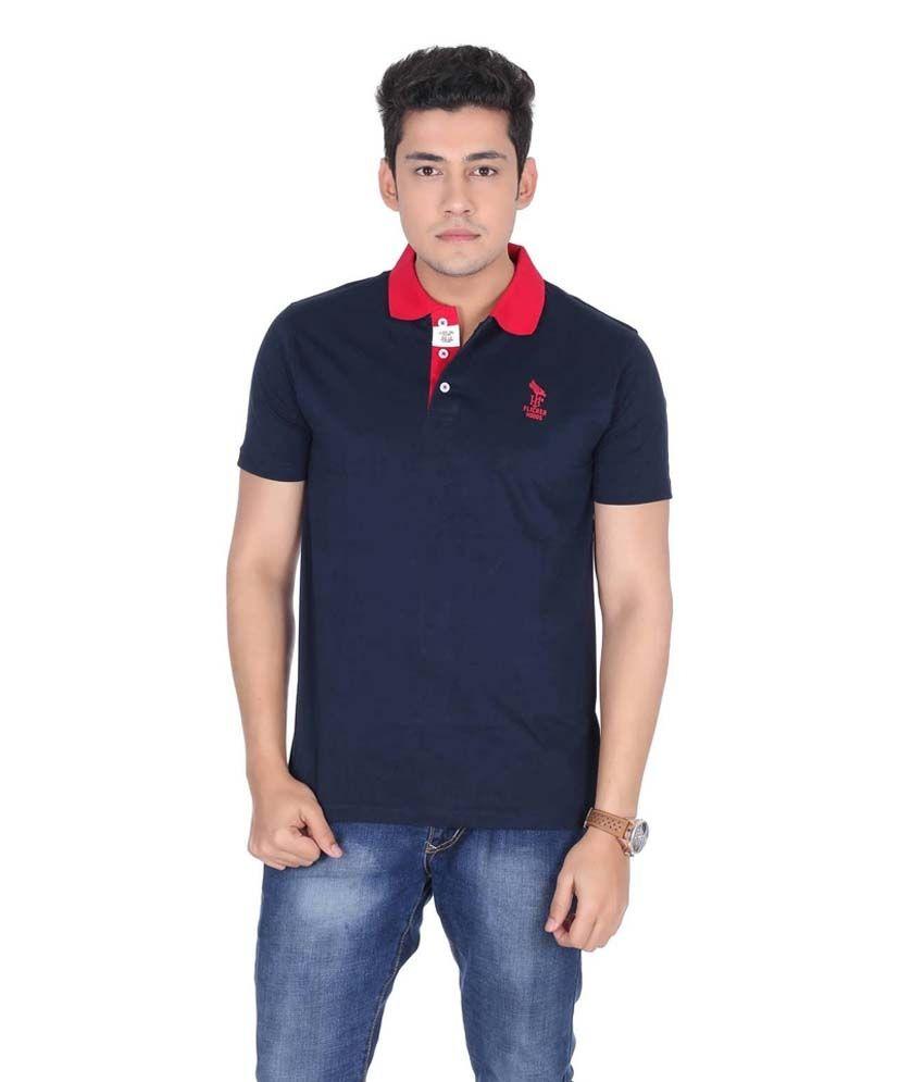 Flicker Hoods Navy Half Basic Polo T-shirt