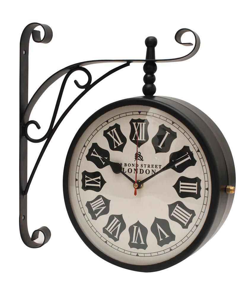 Trendy Ile Black & Beige Double Sided Station Clock