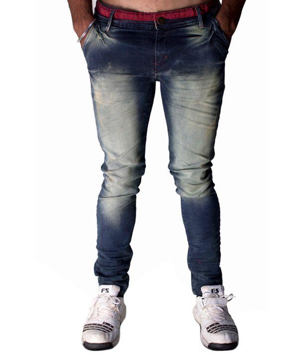 Hd Blue Cotton Blend Jeans