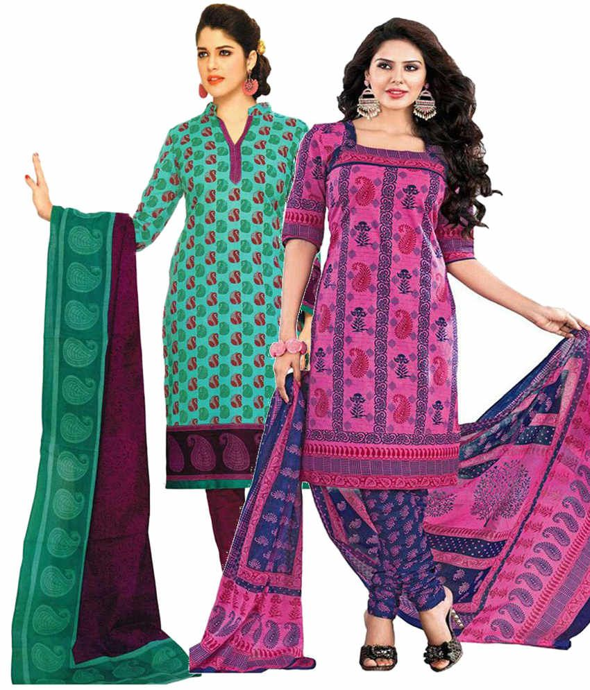 Javuli Green and Purple Printed Cotton Dress Material (Pack of 2)