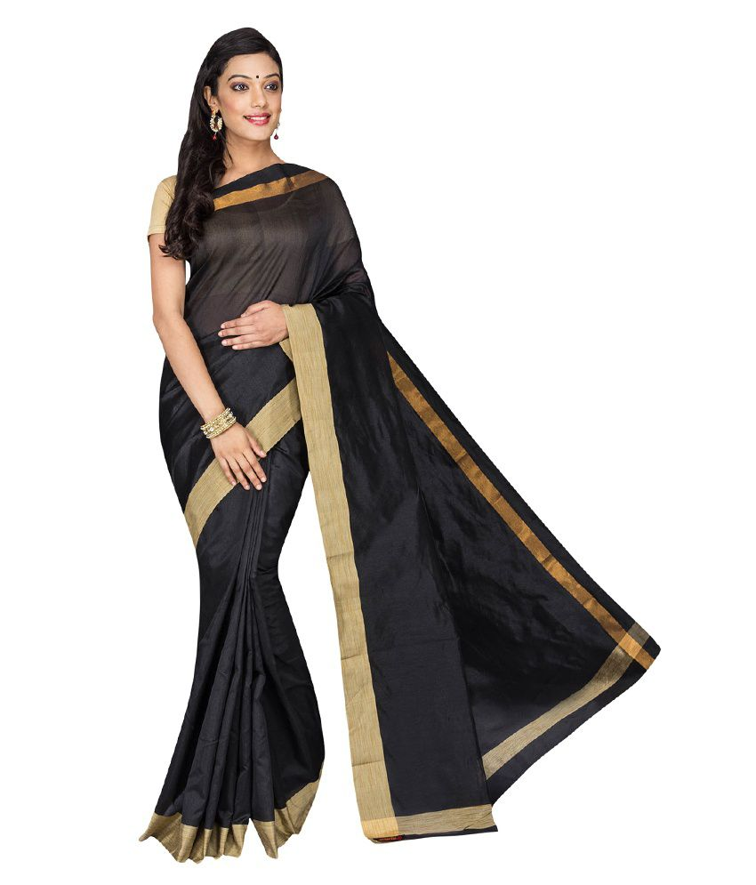 Korni Black Cotton Silk Saree