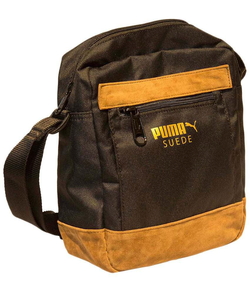 bf889308e5 Puma Black & Yellow Suede Sling Bag - Buy Puma Black & Yellow Suede ...