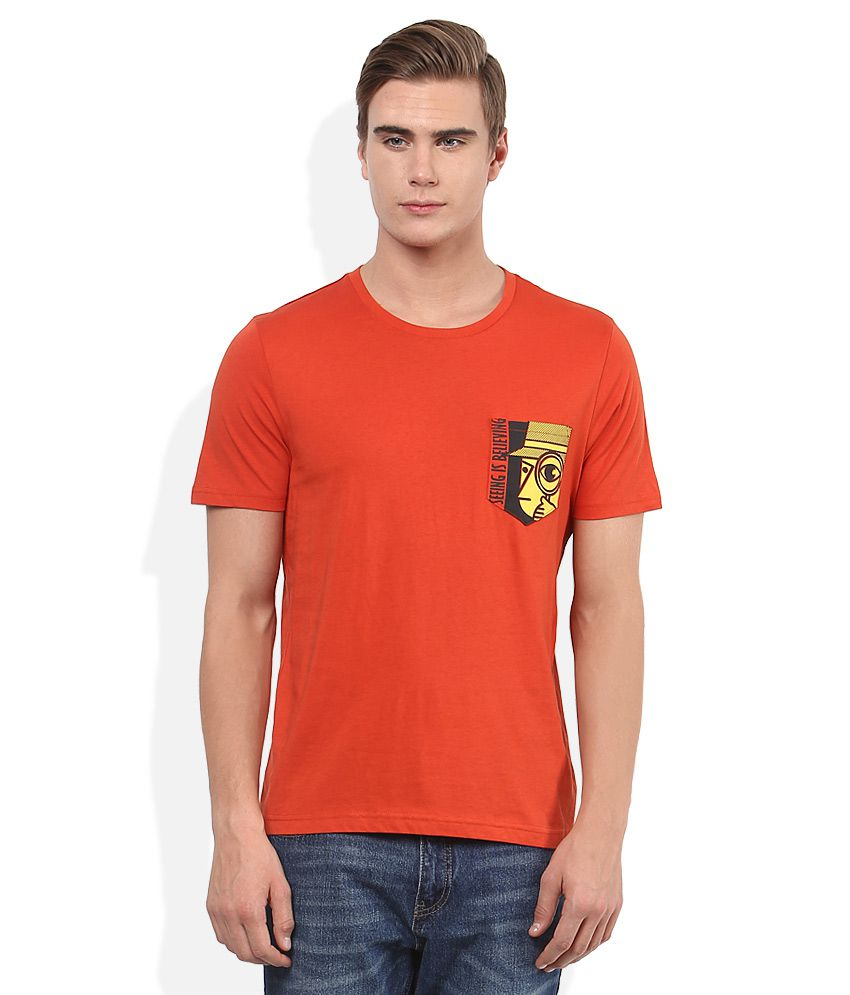 Giordano Red Round Neck Basics T-Shirt