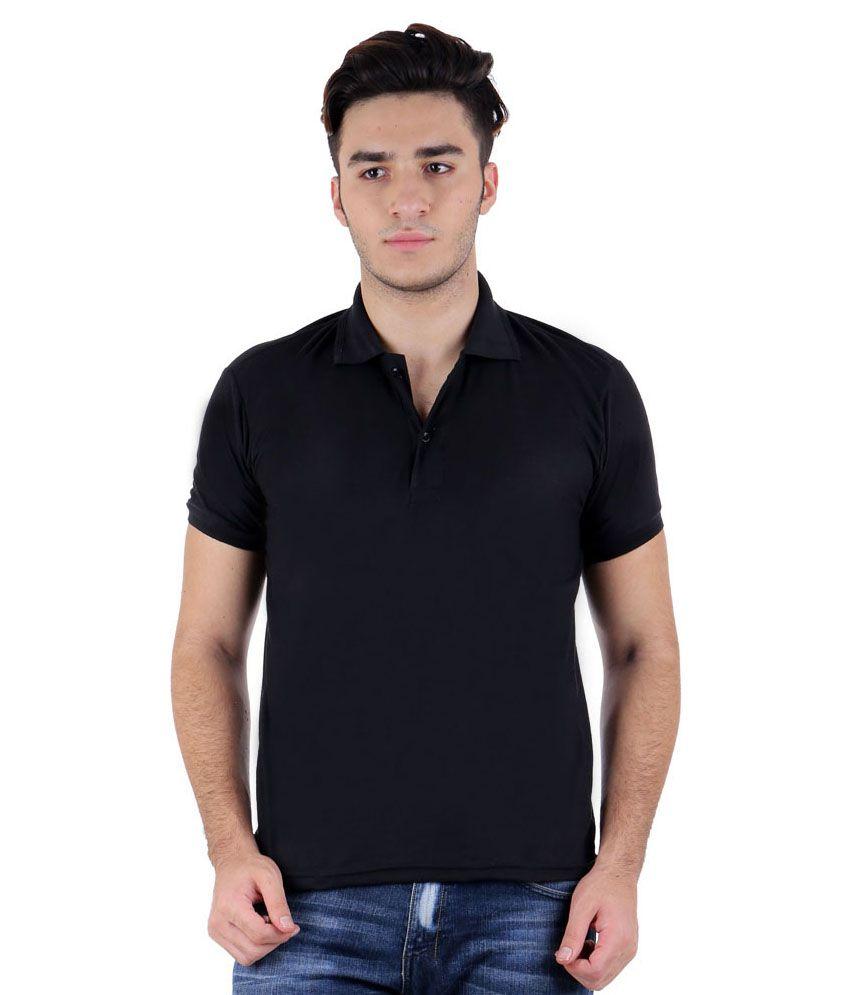 Christy World Black Cotton Polo T Shirt