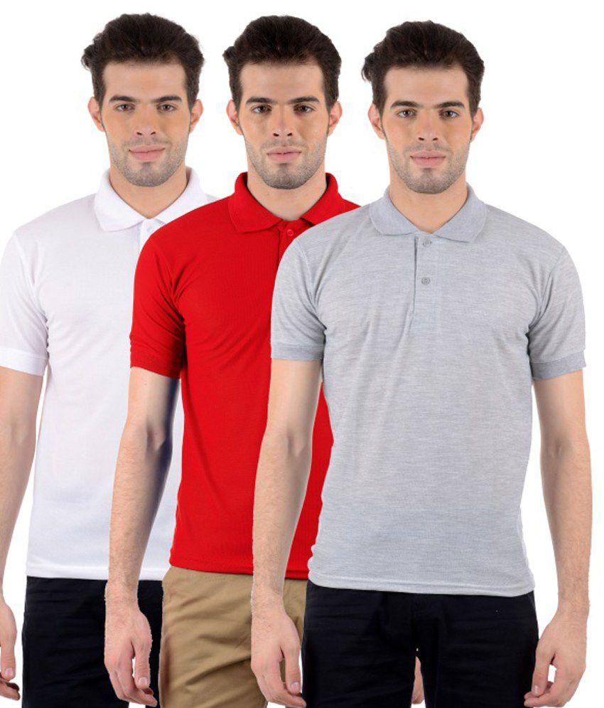 Gdivine Multicolour Cotton Blend Polo T-Shirt Pack Of 3