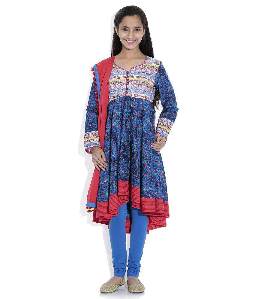 Biba 100% Cotton Blue Full Sleeve Salwar Kameez For Kids