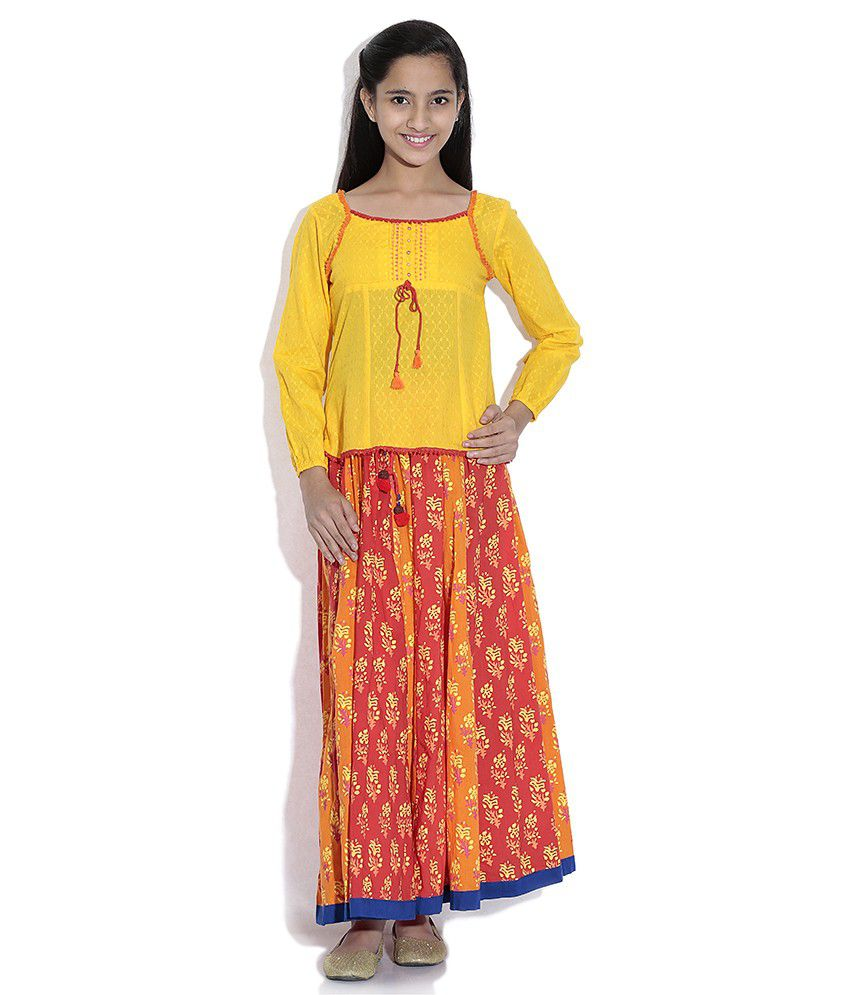 Biba Cotton Yellow and Orange Full Sleeve Salwar Kameez For Kids
