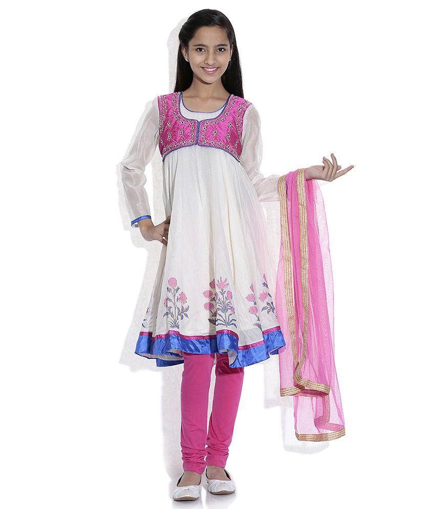 Biba Cotton Blend Off White Full Sleeve Salwar Kameez For Kids