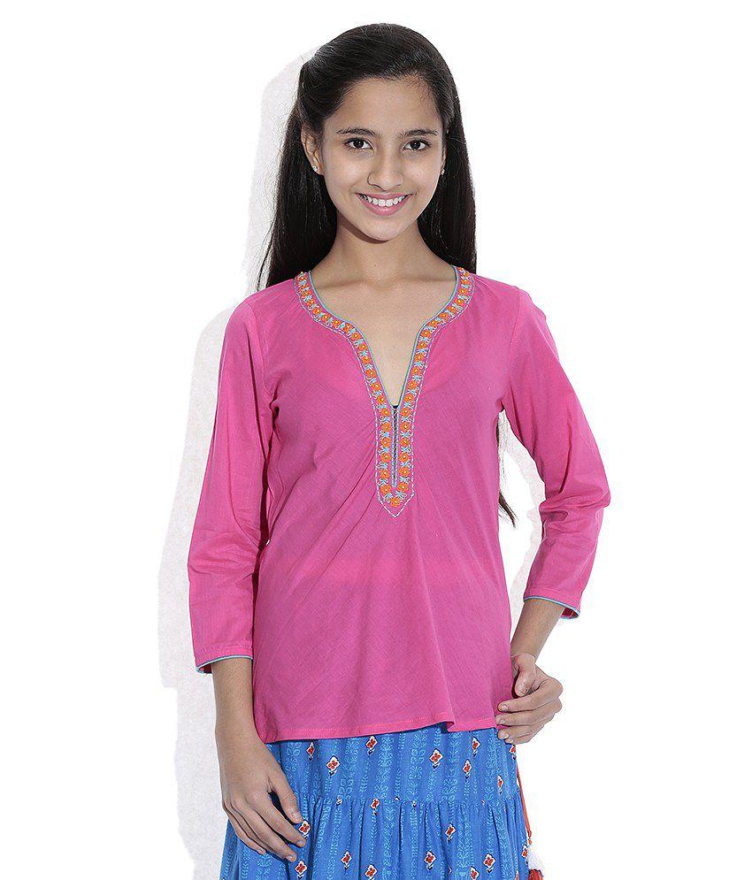 Biba Cotton Blend Pink Full Sleeve Salwar Kameez For Kids