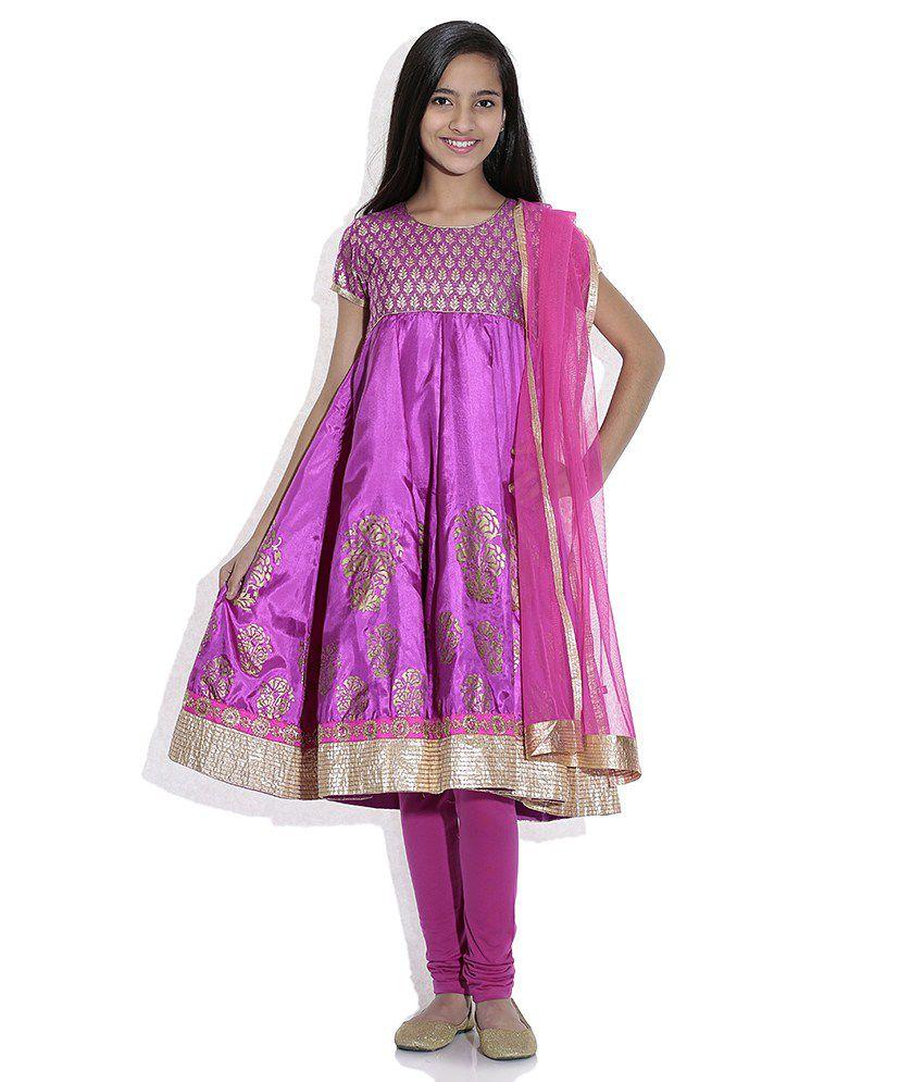 Biba Cotton Blend Purple Short Sleeve Salwar Kameez For Kids