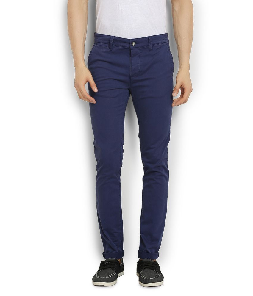 Stanley Kane Blue Slim Fit Casual Chinos Trouser