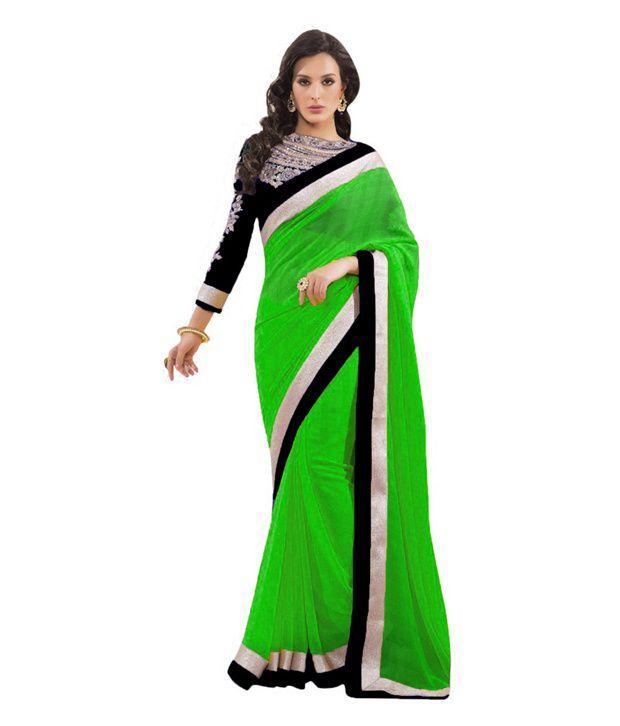 Stylezone Green Faux Chiffon Saree