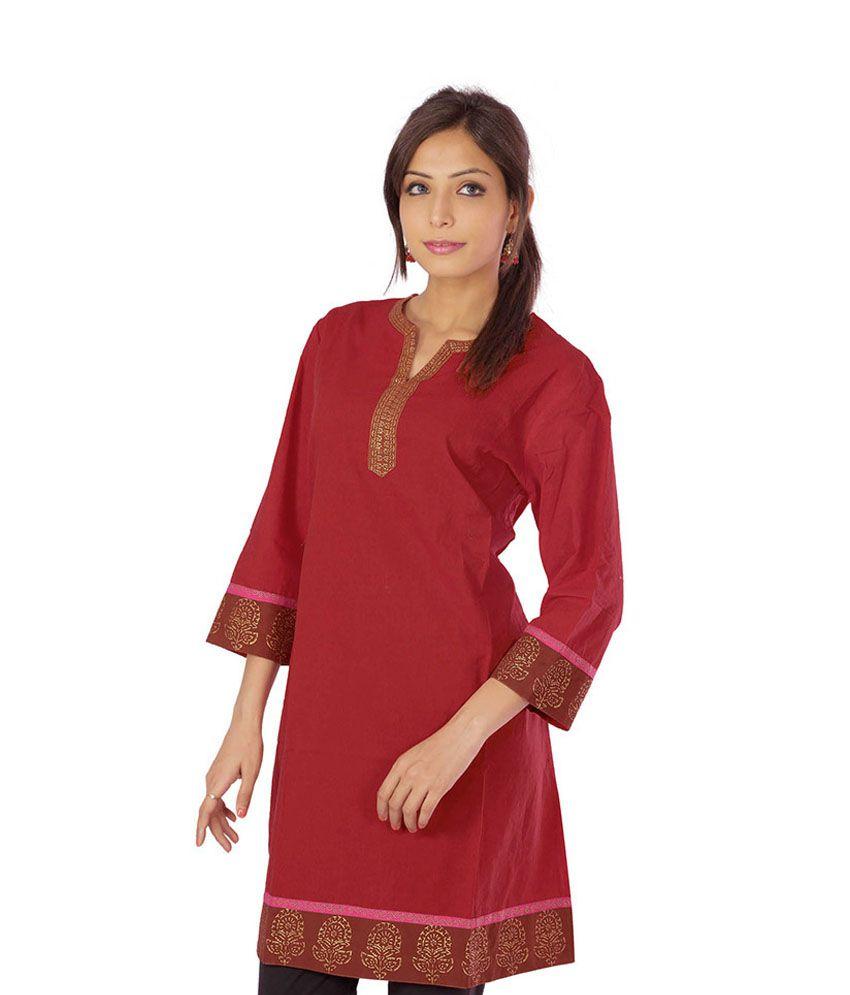 Indiangiftemporium Red Cotton Kurti