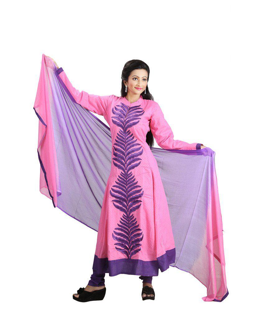 Sharmili Pink Cotton Stitched Suit