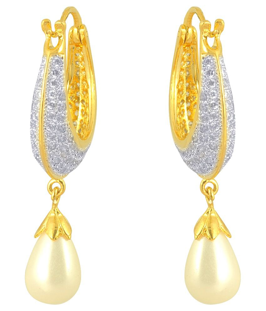 Ohanna Jewels Gold Plated American Diamond Designer Drop Earrings