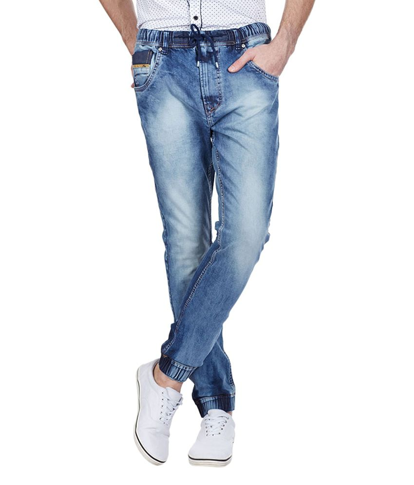 Vintage Blue Cotton Blend Slim Fit Jeans for Men