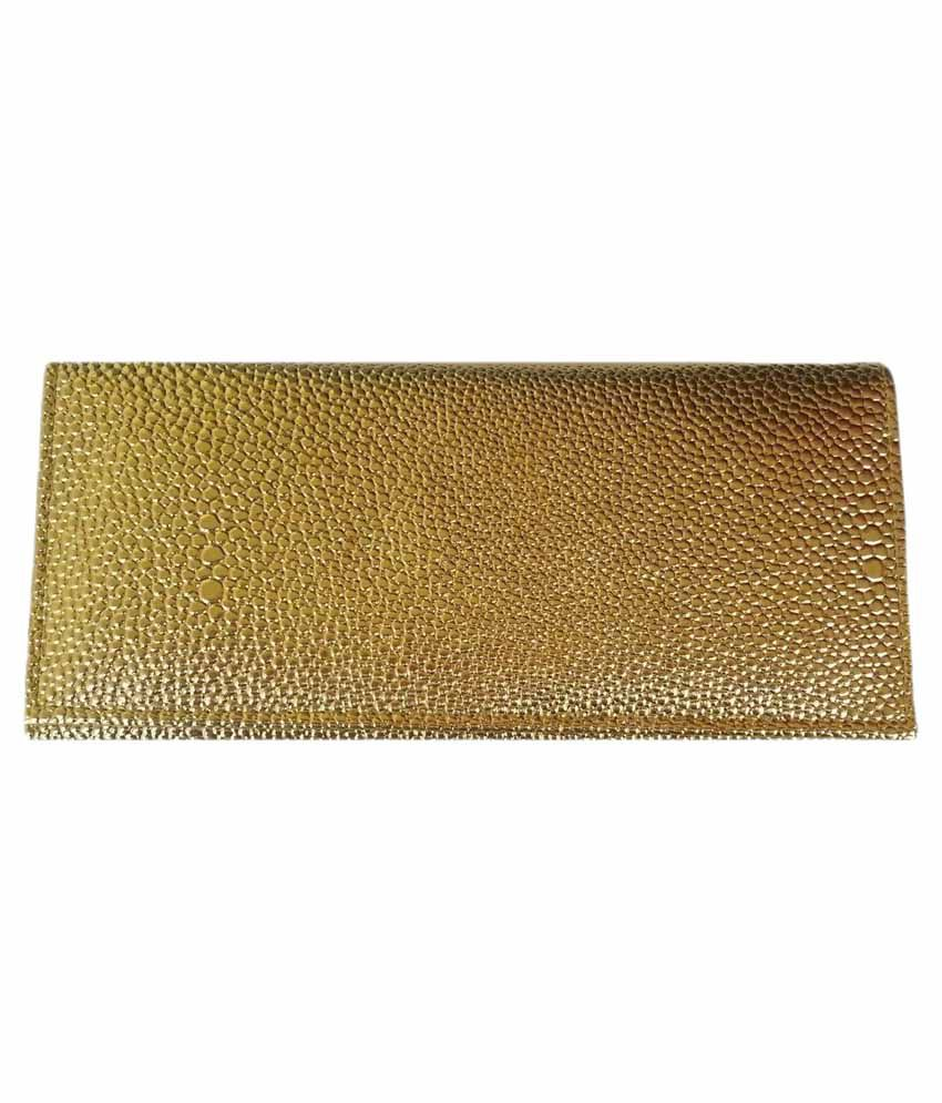 Viva Fashions Golden Polyester Button Regular Wallet