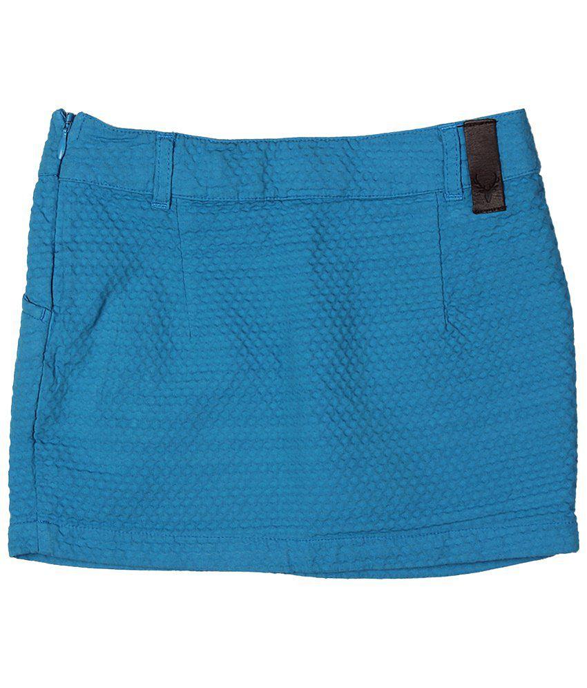 Allen Solly Blue Self Designed Skirt