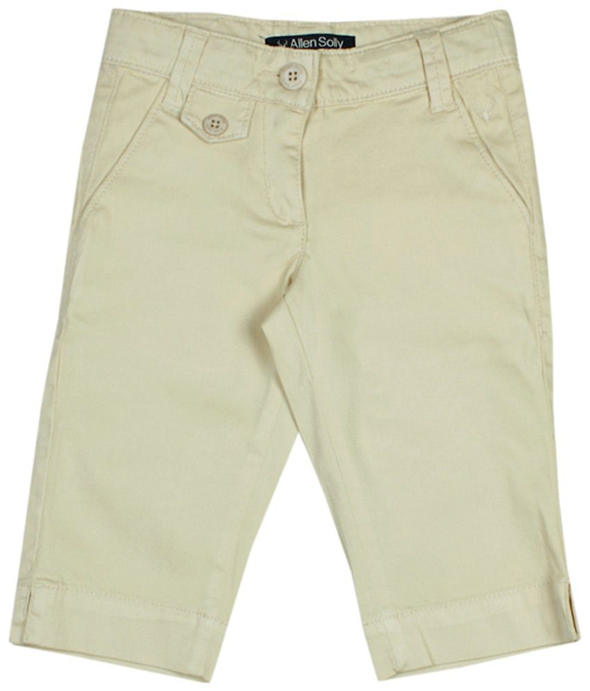 Allen Solly Cream Solid Capris