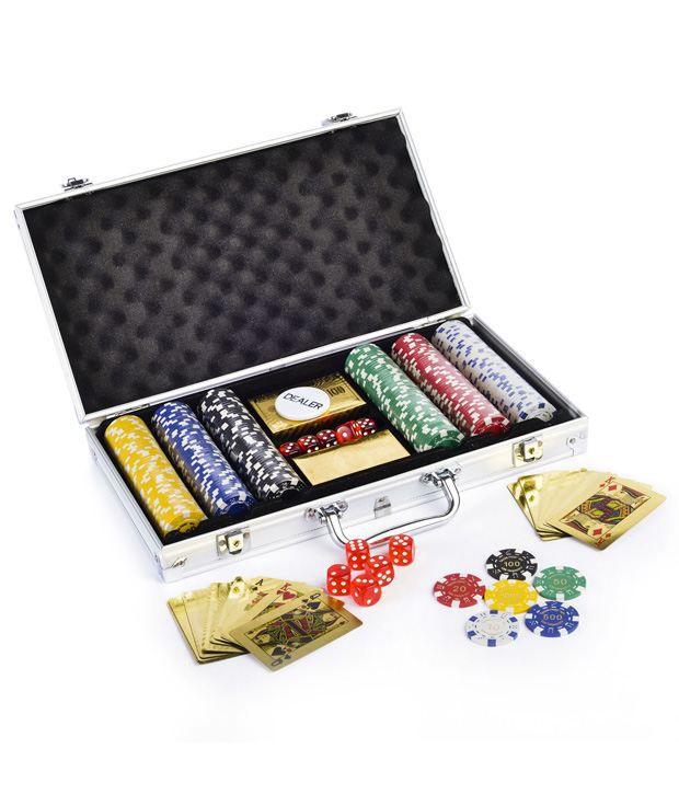 Gold Poker Chip Set 300 & Freebie: 2 Decks of Fournier Playing Cards