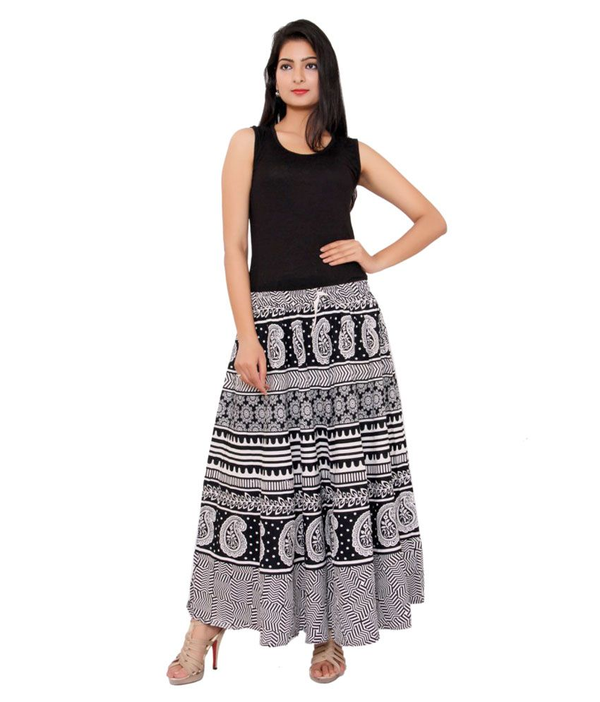 6fc72be614 ... MSONS Women's Black & White Monochrome Printed Long Skirt in Cotton  Fabric - Free Size