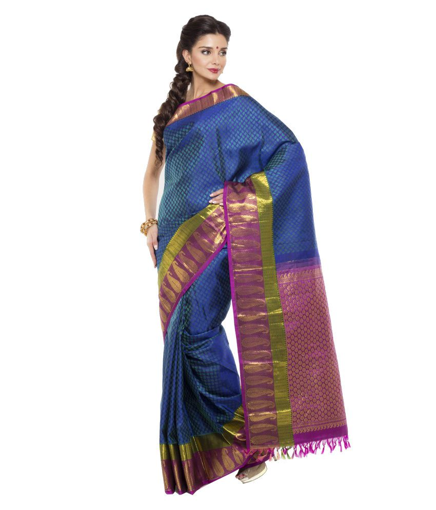 Sudarshan Silks Blue and Purple Silk Saree with Blouse Piece