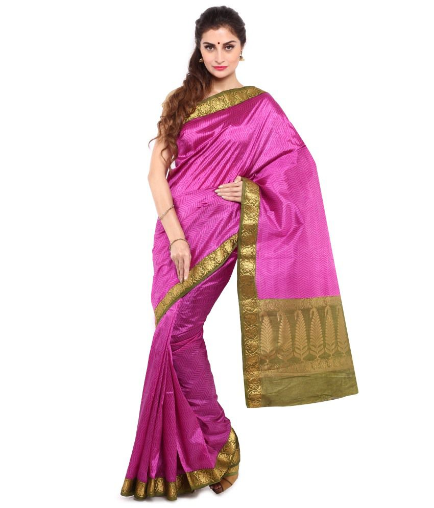 Sudarshan Silks Pink and Green Art Silk Saree with Blouse Piece