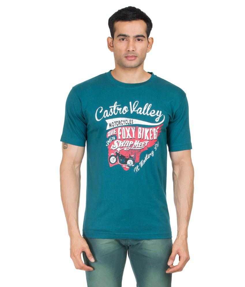 Winfield Blue Cotton Printed T-shirt